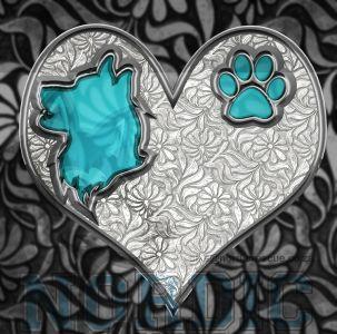 Siberian Husky Crystal Heart
